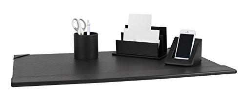Pavo 8047871 set di accessori da scrivania in pelle pu, sottomano, porta lettere, porta cellulare e porta penne, nero