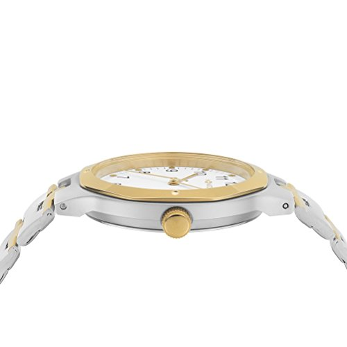M-WATCH Metal Classic Unisex Quartz Watch with White Dial Analogue Display and Two Tone Stainless Steel Gold Plated Bracelet WRT.47210.SU