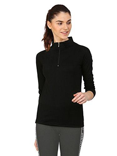 Ap'pulse Women's Cotton 1/4 Zip Hi Neck T-Shirt (Black, XL)