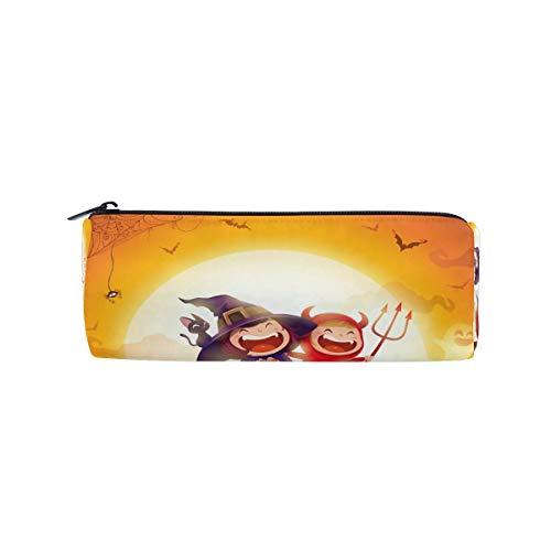 WowPrint Federmäppchen Happy Halloween Thema Reißverschluss Schreibwaren Stiftehalter Tasche Multifunktionale Kosmetik Make-up Tasche für Schule, Arbeit, Büro Reisen