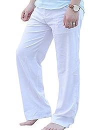 AnyuA Pantalones Casuales De Los Hombres En Lino con Cordón Pantalón De  Playa De Cintura Elástica 84e7660ab3ced