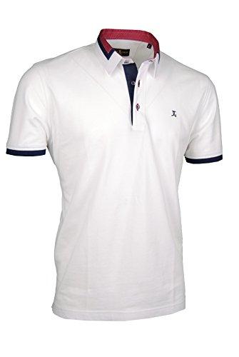Premium-Poloshirt von Giorgio Capone, einzigartiger Hemdkragen, Pique-Stoff 100% Baumwolle, weiß, Regular Fit (XL) (Gestreift Button-down Shirt Polo)