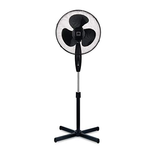 Knight 16″ Fan Pedestal Stand High Performance 140cm Adjustable Height, 3 Speed Setting, Extra Wide Cross Base, Oscillating, Tilting Head (Black)