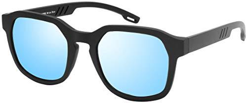 La Optica B.L.M. UV 400 CAT 3 Unisex Damen Herren Sonnenbrille Eckig Nerd - Einzelpack Matt Schwarz (Gläser: Hellblau verspiegelt)
