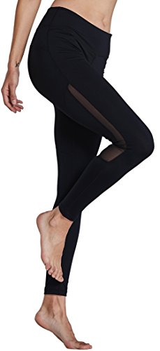 KomPrexx Sport Leggings Damen Mesh Fitness Yoga Training Gym Tights Lang Trainings Workout Sporttights 16K.Schwarz