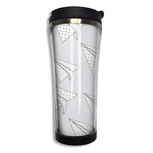 FGRYGF Paper Plane Design Girl's Male Stainless Steel Food Grade ABS Travel Mugs Coffee Insulated Thermal Travel Mug Tumbler Large Capacity