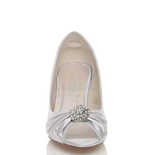 Femmes mariage soirée talon moyen haut bout ouvert sandales chaussures taille Argent