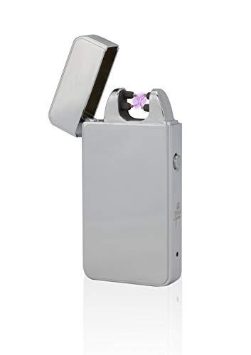 TESLA Lighter T11 | Lichtbogen Feuerzeug, Plasma Double-Arc, elektronisch wiederaufladbar, aufladbar mit Strom per USB, ohne Gas und Benzin, mit Ladekabel, in Edler Geschenkverpackung, Silber