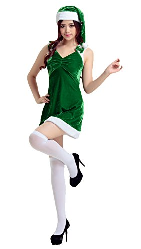 eihnachtsfraukostüm Cosplay Outfit Weihnachten Karneval Party Kleid One Size Grün 1248 (Pirate Makeup-halloween-ideen)
