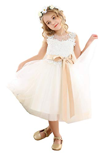 Bow Dream Lace Vintage Flower Girl's Dress Tulle Sleeveless Ivory 6 (Vintage Flower Girl Dresses Lace)