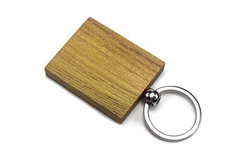 Schlüsselanhänger aus Holz | Birke oder Akazie, Blanco | Schlüsselring Geschenk Anhänger Basteln Laser Graviermaschine | Gute Qualität aus Deutschland (1 Stück, Akazie)