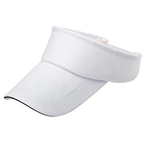 Unisex Flexible Sommer Hüte Sonnenhut Einheitsgröße,URSING Strandhut Headsweats Sonnenschild Sport Golf Tennis Visor Cap Baseballhut Sonnenblende Einfach Hut Kappe Mütze für Männer Frauen (Weiß)