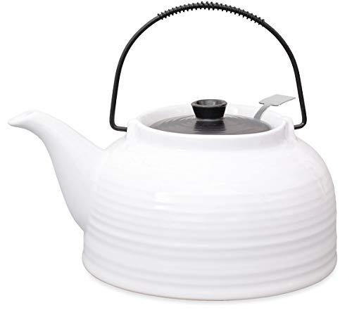 Teekanne Nelly groß aus hitzebeständiger Keramik 1,5 liter weiss/schwarz mit Stahl-sieb, Original Aricola - Keramik Tee-kanne Große