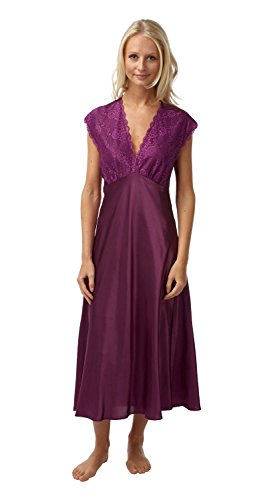 - 31dpjv5qyAL - Ladies Sexy Satin Long Nightdress Fushia ,Navy,Ivory or Blue Size 10/12 to 26/28