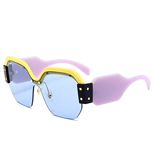 Polarisierte Sonnenbrille mit UV-Schutz Persönlichkeit Bunte Sonnenbrillen Für Frauen Große Mädchen Halbrandlose Sonnenbrille Klassische Übergroße Quadratische Trendy Dame Sonnenbrille Sonnenbrille Fü