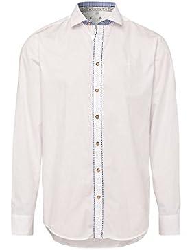 Gweih & Silk Moser Trachten Trachtenhemd Langarm Weiß Blau Konrad 002185 von Material Baumwolle, LIegekragen,...