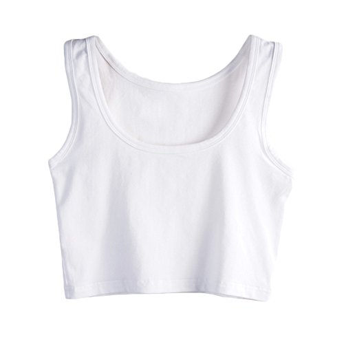 SUNDAYROSE Womens Basic Solid Sleeveless Tank Crop Top
