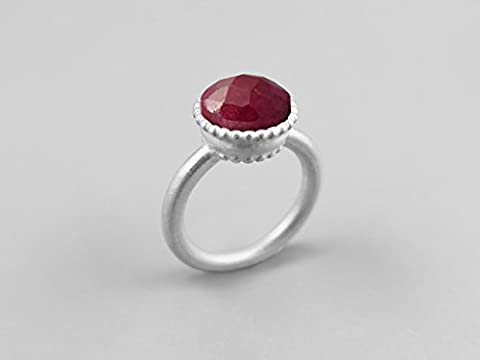 10 mm Red Ruby Gemstone Round Large Silver Ring For Women July Birthstone Jewellery Handmade Custom Ring Statement Ring Solitaire Ring Bezel Set Genuine Ruby Jewellery Anniversary Gifts For
