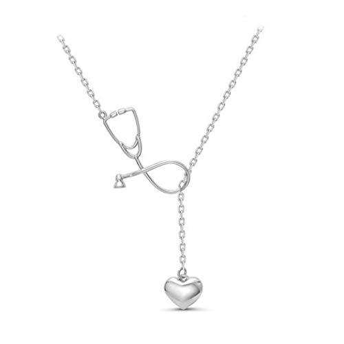 Buelgma Persönlichkeit Stethoskop Herz Anhänger Halskette Kreative Halsband Schlüsselbein Kette Schmuck Für Frau Dame Mädchen (Silberfarbe)