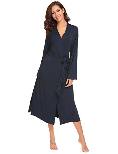 Avidlove Damen Morgenmantel lang Baumwolle Kimono Negligee Saunamantel Winter Robe V Ausschnitt Bademantel Nachthemd Schwarz