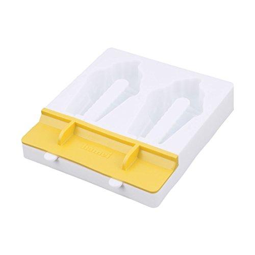 e Plastik 2 Fächer DIY Gefrorene Süßigkeit Eis Lutscher Maker Schimmel Gelb (Gefrorene Halloween-dekoration)