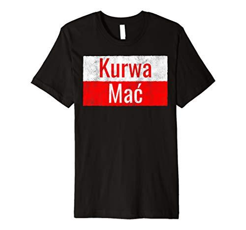 Lustiges Kurwa Mac Polen T-Shirt polnische Flagge Fluchen