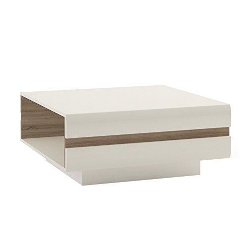 P&N Homewares® Solna Grande Table Basse Design en Blanc Brillant et chêne Trim pour Le Salon | Moderne Design scandinave | Stockage pour Livres | Table carrée | Solna Gamme de Meubles