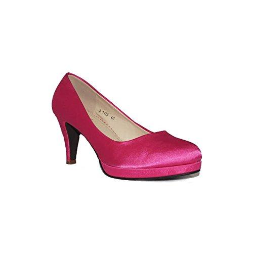 QUNHUI - QUNHUI Tacón Fiesta A1123 Zapatos Fiesta Tacón Rojos con Plataforma Elegantes Noche Cómodos Moda - Fucsia, 40