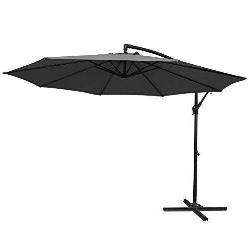 UISEBRT 350cm Alu Sonnenschirme höhenverstellbarer mit kurbel - Dunkelgrau Gartenschirm Balkonschirm UV Schutz 40+ (350cm,Dunkelgrau)