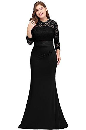 Misshow Kleider Plus Size Kleid Festlich 3/4 Ärmel Meerjungfrau Elegant Für Hochzeit Black Lace Abendkleid