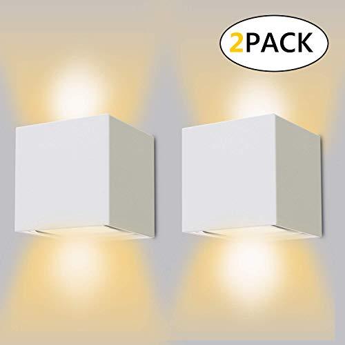 Ledmo 12w*2 lampada da parete per interni/esterno led moderno, applique da parete muro in alluminio angolo,lampada muro su e giù regolabile design ip65 impermeabile 3000k bianco caldo