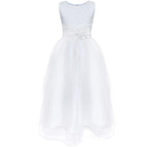 Tiaobug Kinder Mädchen Prinzessin Kleid Pailletten Kleid Festlich Blumen Kleid Hochzeit Festzug Gr.98-164 Weiß 128-134
