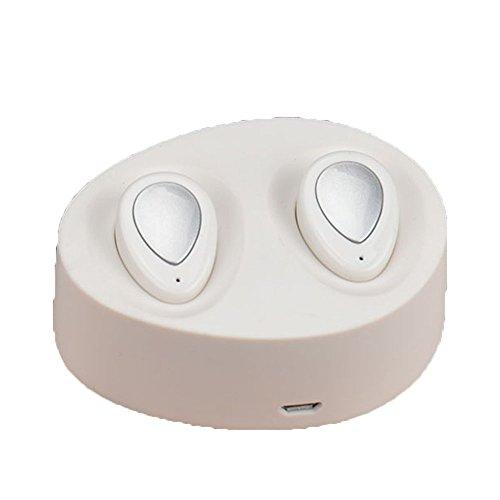 Koly 2 PC Bluetooth 4.1 Mini en la oreja los auriculares inalámbricos de deportes de cabeza estéreo del auricular,Blanco
