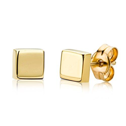 Miore Damen Ohrstecker 9 Karat - Viereckige Ohrringe aus 375 Gelbgold - Hochwertiger Gelbgold-Schmuck Ø 4,5 mm