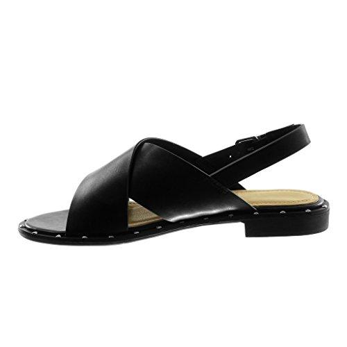 Angkorly Chaussure Mode Sandale Lanière Cheville Femme Lanière Clouté Talon Bloc 2 CM Noir