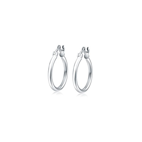 Orecchini a Cerchio Donna in Argento Sterling 925 Creoli Sleeper, Diametro: 20 mm