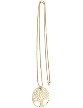 Hobra-Gold Kette und Anhänger Lebensbaum Silber 925 diamantiert bicolor Gold Silberkette