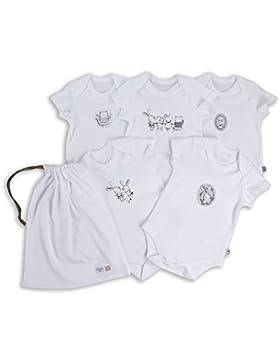 The Essential One - Baby Mädchen Tier 5 Stuck Babybodys/Unterwasche/Bodys mit Beutel - Weiß - ESS206