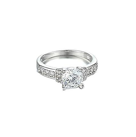 18K White Gold Pave Diamond Wedding Anniversary Ring , silver