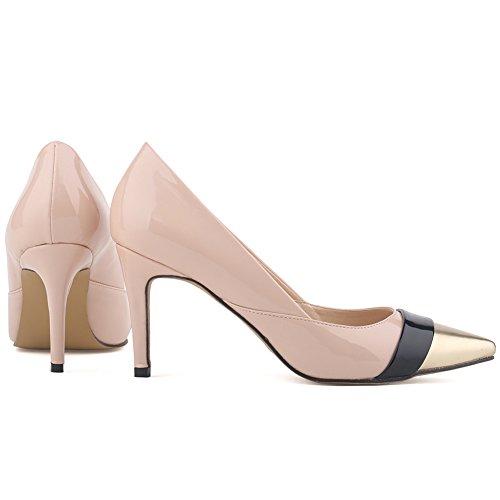 Aisun Damen Elegant Low Top Stiletto High Heels Spitz Metallic Zehen Pumps Aprikosen