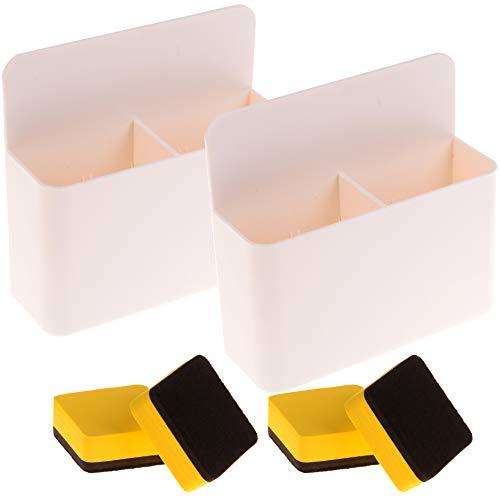 ifthalter mit 4 magnetischen Whiteboard-Radiergummis, Weiß, 2 Packungen ()