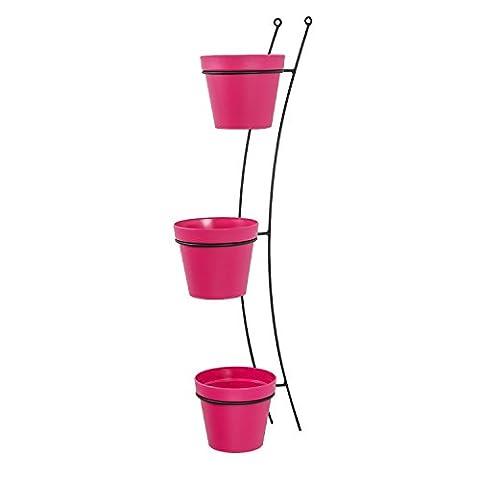 3x Blumentopf Übertopf Topf Patio D 15 cm rosa + Aufhänger Wandhalterung Halter