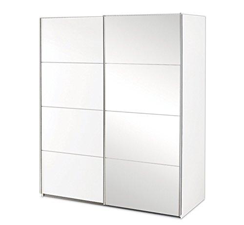 Schwebetürenschrank Kleiderschrank Schlafzimmerschrank ADANA 8 | 2-türig | Dekor | Alpinweiß | mit Spiegel | 181x197x61 cm