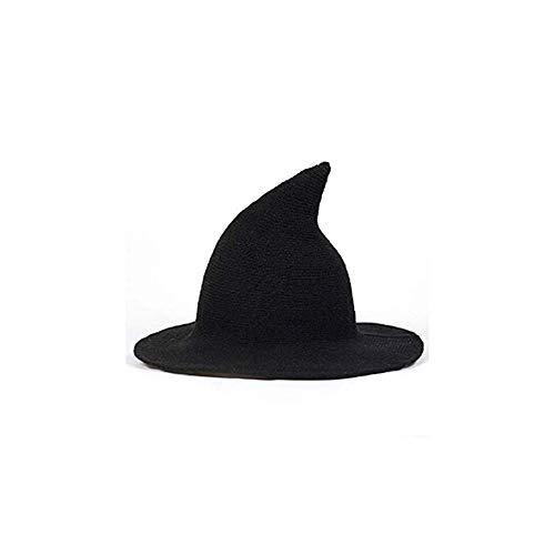 ICYANG Frauen Wolle Sharp Spitz Hexe Hut für Halloween Weihnachten Kostüm Party Masquerade Cosplay Mütze, Moderne Breiter Krempe Cap für Alle Jahreszeiten,Schwarz
