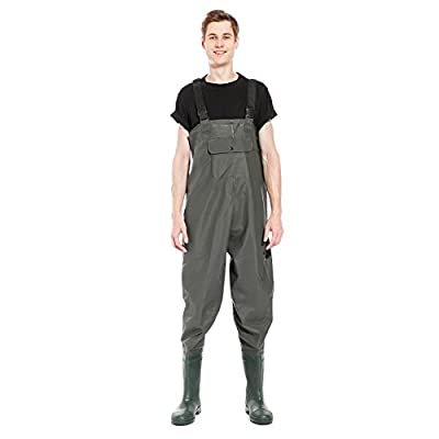 Surepromise 100% Waterproof PVC Chest Waders Fly Coarse Sea Fishing Breathable UK Size 8 9 10 11 by Surepromise