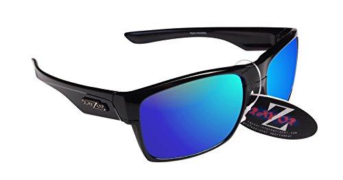 RayZor Professional leichte UV400schwarz Sports Wrap Golf Sonnenbrille, mit einem blau Iridium verspiegelt Blendfreie Objektiv