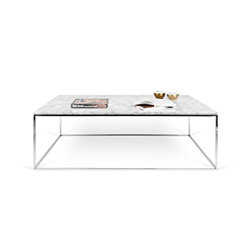 Paris Prix - Temahome - Table Basse Gleam 120cm Marbre Blanc & Métal Chromé