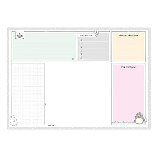 Wochenplaner zum Abreißen, DIN A3, Design von Katz & Tinte, 30 Blatt hochwertiges Papier ohne festes Datum, Schreibtischunterlage, Tischkalender, Wochentage, Notizen