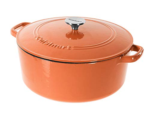Cuisinart Chef's Classic Schmortopf aus emailliertem Gusseisen rund mit Deckel 7-Quart Terracotta Orange