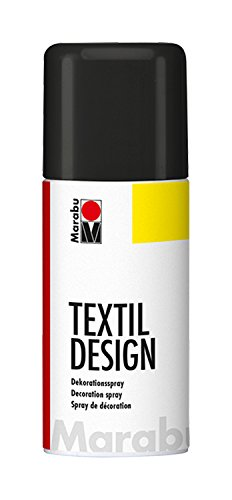 Marabu 17240006073 - Textil Design, Dekorationsspray auf Acrylbasis, schnell trocknend, wetterfest, lichtecht, bedingt waschbeständig, zum kreativen Gestalten auf Stoff, 150 ml Sprühdose, schwarz -